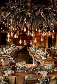 Wedding Color Trends: 30 Sunset Dusty Orange Wedding Color Ideas A cosy boho winter wedding vibe, just look at the impact the lights and greenery makes for this gorgeous wedding. Barn Wedding Lighting, Barn Wedding Decorations, Wedding Centerpieces, Decor Wedding, Wedding With Lights, Whimsical Wedding Decor, Outdoor Wedding Lights, Wedding Theme Ideas Unique, Birdcage Centerpieces
