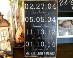 Check out Important dates, Wedding,  Our love Story, Custom Wood Sign,What a Difference a Day Makes, Anniversary Gift, Mother's Day Gift, Family Sign on paolabrownshop