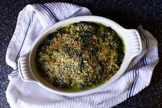 "The Best Baked Spinach (Julia  Child's Spinach Gratin with Cheese) adapted from ""As Always, Julia"" and ""Mastering the Art of French Cooking."" via smitten kitchen"
