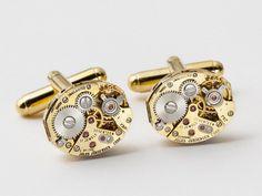 Steampunk cufflinks vintage watch movements rare Jules Jurgensen wedding anniversary gift gold cuff links men jewelry Steampunk Nation 1718. $99.00, via Etsy.
