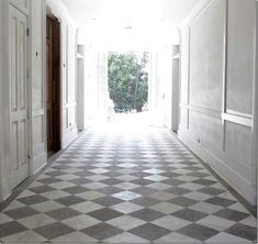 Checkered Tile Textures Photo 24 – Hallway with White Grey Checkered Tile