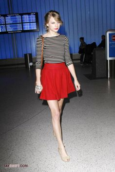 Taylor Swift's Striped Top and Red Skirt.  Outfit details: http://wwtaylorw.com/427/