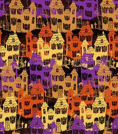 Holiday Inspirations Susan Winget Haunted Houses Fabric : holiday fabric : fabric :  Shop | Joann.com Halloween Fabric, Halloween Themes, Happy Halloween, Halloween Backgrounds, Halloween Wallpaper, Album Scrapbook, Trick Or Treat Bags, Paper Frames, Joann Fabrics