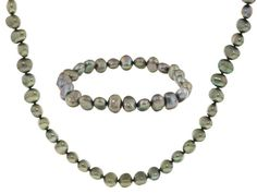 7-8mm Pistachio Green Cultured Freshwater Pearl Necklace And Stretch B
