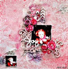 I have used 13 arts products and chipboard from Blue Fern Studios.  http://vibekescrapperogskryter.blogspot.no/2013/03/joy.html