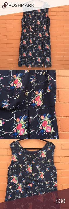 Navy and floral plus size Modcloth a-line dress Fully lined chiffon dress with fitted top and flowy skirt. By the brand Yellow Star for Modcloth. Like new. Flat lay measurements - waist: 20 bust: 22 length 39. ModCloth Dresses