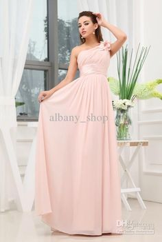 Hot Sale One Shoulder A-line Fold Evening Dresses Empire Waist Pink Elegant Prom Gowns