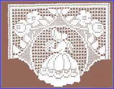 Bonnet girl with flowers filet crochet chart Crochet Curtain Pattern, Free Crochet Doily Patterns, Filet Crochet Charts, Crochet Curtains, Crochet Borders, Crochet Tablecloth, Crochet Squares, Crochet Motif, Crochet Designs