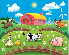 Cartoon animals and farm vector