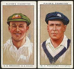 In 1934, cricket was so popular that tobacco company John Player and Sons brought out a series of cards featuring cricketers. These two show Don Bradman and Bill Ponsford. Ponsford is wearing a Victorian cap and jumper. Courtesy: National Library of Australia,