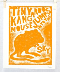 Love this Orange Cute Kangaroo Mouse Print by Raw Art Letterpress on #zulily! #zulilyfinds