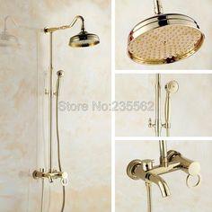Wholesale And Retail Promotion Luxury Gold Brass Shower Faucet Rain Shower Head+Tub Faucet + Hand Shower lgf641