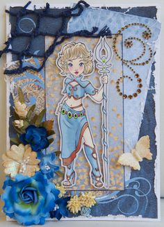 SHADES OF BLUE: Blue papers from the Heartfelt Creations Wildwood Cottage collection; brown papers from the Maja Design Walking in the Forest pack; Paper Shelter digi stamp, called Enchantress, coloured with Promarkers; blue swirl cut on the Cameo; gem swirl is Bo Bunny; rope netting from the Couture Creations Sea Breeze collection; assorted flowers and butterfly (49 and Market; Prima; Petaloo)