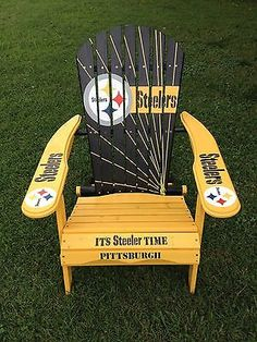 HAND-PAINTED-PITTSBURGH-STEELER-FOLDING-ADIRONDACK-CHAIR-NFL-FOOTBALL-TAILGATING