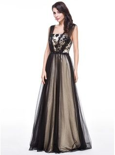 A-Line/Princess Floor-Length Tulle Charmeuse Evening Dress With Lace Beading Sequins (017056516) - JJsHouse