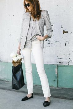 matching blouse and blazer + white pants + black pointy toe flats + black leather tote