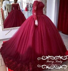 <img> 2017 Sheer Lace Appliques Quinceanera Dresses Girls Sweet 16 Puffy Ball Gown Long Sleeves Off Shoulder Fashion Prom Dress Formal - Xv Dresses, Quince Dresses, Formal Dresses, Sweet 16 Dresses, Cute Dresses, Beautiful Dresses, Red Ball Gowns, Ball Gowns Evening, Red Wedding Dresses