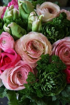 Pink and Green Beautiful Flower Arrangements, Love Flowers, My Flower, Fresh Flowers, Floral Arrangements, Beautiful Flowers, Wedding Flowers, Special Flowers, Wedding Bouquets