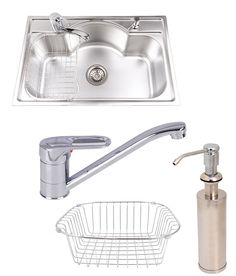 Futura Designer Single Bowl Series FS 2718 With Free Drainer Kit ,Faucet ,Soap Dispenser and Wire Basket Wire Baskets, Kitchen Organization, Soap Dispenser, Faucet, Organize, Free, Design, Soap Dispenser Pump, Kitchen Storage
