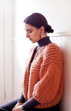 a7d2076e460bb3 Carlisle Hand knit Cardigan (shown in burnt orange) of Peruvian wool /  goodnightday.