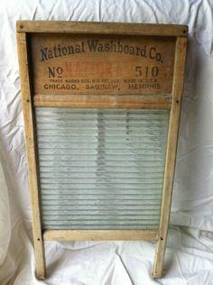Antique National Washboard Co. Glass King Wash Board #510 Mississippi Glass Co. | eBay