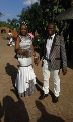 Modern shweshwe wedding dress and suit by B-wear fashion Emporium