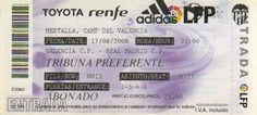 VCF-Real Madrid 08 (Supercopa España) Real Madrid, Valencia, Cards, Playing Cards, Maps