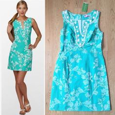 $278 Lilly Pulitzer Delia Dress Brand ! Lilly Pulitzer Lagoon Green Birds and the Bees Adelia Dress. Retails for $278. Gorgeous dress turquoise/aquamarine with a beautiful detail in the front, be ready to received so many complement and be the star of your event Lilly Pulitzer Dresses