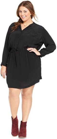 Plus Size Dress - Lucky Brand Plus Size Drawstring Shirtdress - I will pair w leggings and boots until spring!
