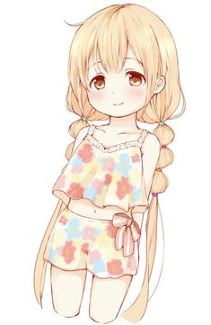 Anime Girl: Blonde hair and orange eyes