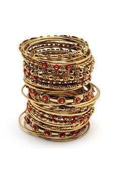 Bangle Set In Coral & Gold.