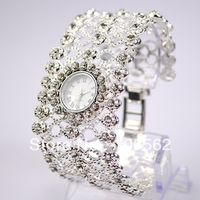 Free shipping luxury watches Antique Hollow Out Silver with Crystal Rhinestone Women Girls' Alloy Quartz Adjustable Wrist Watch