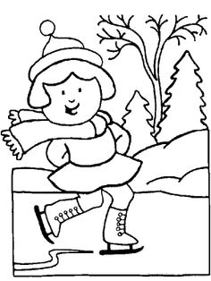 Ice skating coloring page