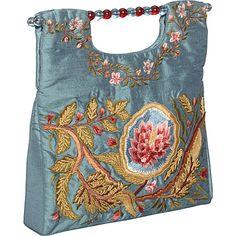 Moyna Handbags Clutch Square Silk Flower Blue - Moyna Handbags Fabric Handbags