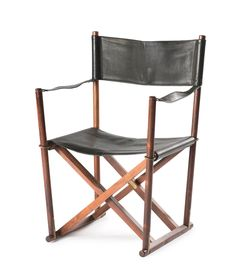 Mogens Koch; #MK-16 Rosewood, Leather and Brass Folding Chair for Rud. Rasmussen, 1932.