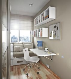 Small Space bedroom interior design ideas - Image detail for -Small Bedroom Design Ideas in Small Apartment Building - Home Interior . Small Teen Room, Small Rooms, Small Apartments, Small Spaces, Small Bedroom Interior, Modern Kids Bedroom, Small Bedroom Designs, Narrow Bedroom Ideas, Gray Bedroom