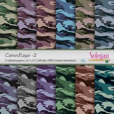 "camouflage pattern "" Camouflage -2"" digital scrapbook paper army 12x12 printable military pattern uniform texture fabric background by Selegan on Etsy"