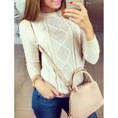 Refreshing Solid Color Round Collar Raglan Sleeve Twist Wave Pullover Sweater For Women