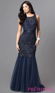 Shop long sequined-lace formal prom dresses at Simply Dresses. Floor-length  navy blue misses and plus gowns with open backs and mermaid skirts. 7fd9e17f2