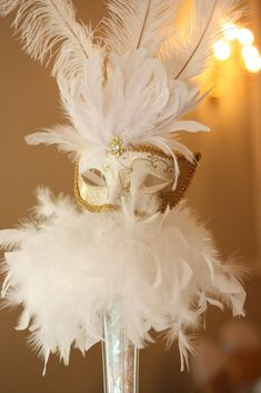 Masks attached to feathers Sweet 16 Masquerade, Masquerade Wedding, Masquerade Ball, Sweet 16 Centerpieces, Feather Centerpieces, Balloon Centerpieces, Quinceanera Centerpieces, Quinceanera Party, Centrepieces