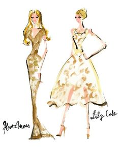 Kate Moss and Lily Cole at the Olympic Games Closing Ceremony #fashionillustration #models #fashion