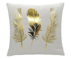 "Poduszka ""Gold Feather"", 45 x 45 x 13 cm Modern Pillows, Decorative Pillows, White Gold Room, Gold Pillows, Throw Pillows, Gold Feathers, Bedroom Decor, Gold Bedroom, Shell Crafts"
