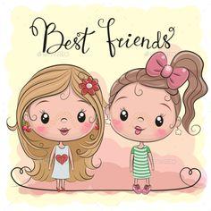 Two Cute cartoon girls. Two friends Cute cartoon girls on a yellow background vector illustration Cute Cartoon Pictures, Cute Cartoon Girl, Cartoon Girl Drawing, Cartoon Pics, Cartoon Drawings, Easy Drawings, Cartoon Art, Cartoon Characters, Friend Cartoon