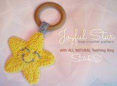 Ravelry: Joyful Star Teething Ring pattern by Corina Gray Crochet Stars, Love Crochet, Crochet For Kids, Crochet Flowers, Crochet Baby, Crochet Rings, Crochet Hooks, Baby Patterns, Crochet Patterns