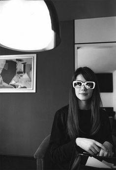 0f14f5cb4d3e Françoise Hardy    vintage black and white photograph    white sunglasses  inside    fashion icon    style idol    iconic women