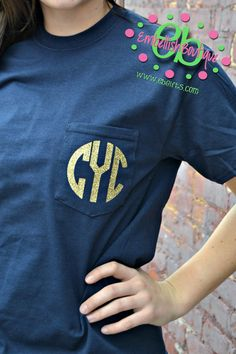 GLITTER MONOGRAM Heat Press Pocket Tee - Short Sleeve - Sorority Gift - Bridesmaid Gift on Etsy, $14.99