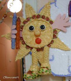 Поделка изделие Начало учебного года Плетение Солнышко Бумага газетная фото 1