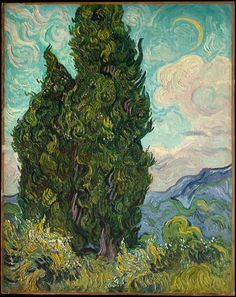 artists paintings claude monet Cypresses by Vincent van Gogh - Famous Art - Handmade Oil Painting on Canvas — Canvas Paintings Paul Gauguin, Art Van, Desenhos Van Gogh, Van Gogh Arte, Van Gogh Pinturas, Van Gogh Paintings, Famous Art Paintings, Famous Artwork, Famous Impressionist Paintings