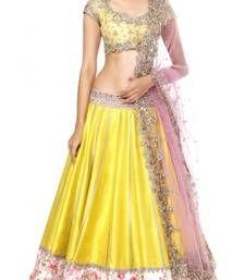 Buy Yellow embroidered silk unstitched lehenga-choli lehenga-choli online