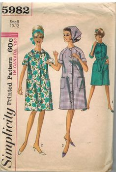 5982 Vintage Simplicity Sewing Pattern Misses Robe Bathrobe Duster Scarf Small